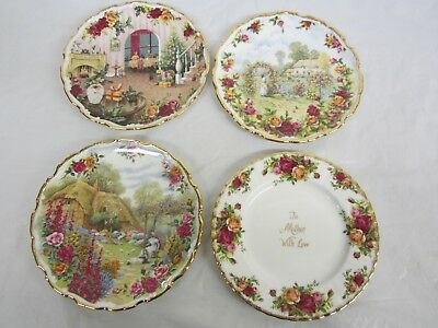 Lot of 4 Plates Royal Albert Old Country Roses 25th 30th Anniversary ,Christmas