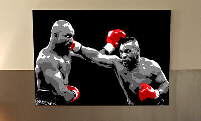 2x3Ft Canvas Print of Evander Holyfield vs Mike Tyson BOXING POP ART IRON MIKE