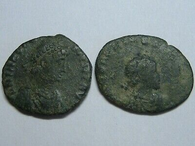 Ancient Roman Imperial Coins Genuine Lot 2 Coins Bronze .