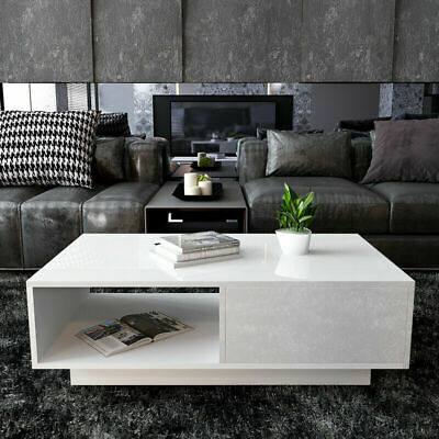 Modern High Gloss Coffee Table With 1 Drawer Storage Living Room Furniture New