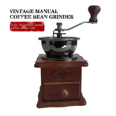 Wooden Vintage Antique Coffee Bean Mill Windmill Hand Crank Manual Grinder O1F6X