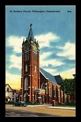 Us Linen Postcard St Boniface Church Williamsport Pennsylvania