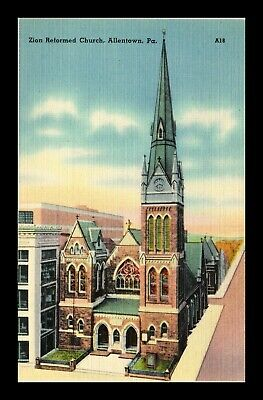 Us Linen Postcard Zion Reformed Church Allentown Pennsylvania