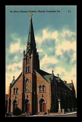 Us Postcard St Johns Roman Catholic Church Freeland Pennsylvania Linen