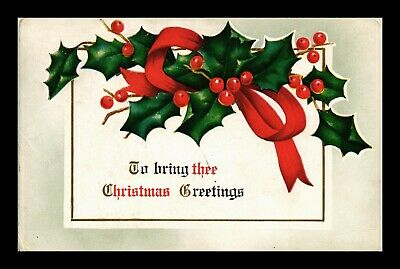 Us Postcard Christmas Greetings Embossed Holly With Red Ribbon