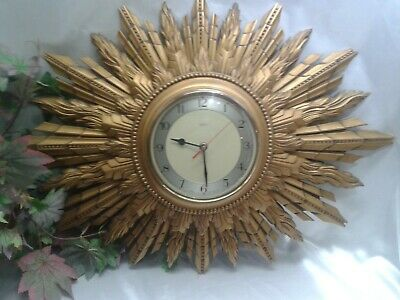 Antique Art Deco 1930s Smiths Sunburst Starburst Gesso Gilt Wall Clock Battery