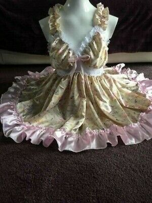 Adult Baby Sissy Floral Satin And Lace Baby Doll Dress
