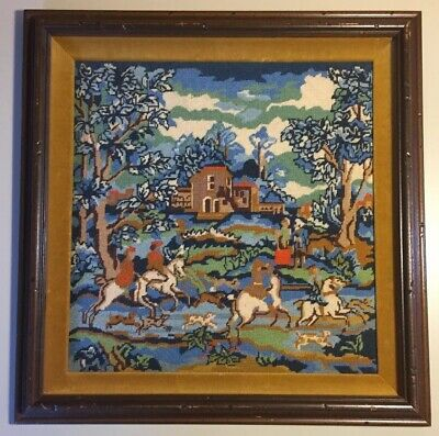 """Vintage Hunting Foxes Handmade Needlepoint Framed 18.5""""x18.5"""""""