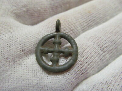 "Ancient bronze pendant ""Cross in circle"" Kievan Rus Vikings 11-13 AD № 560/5."