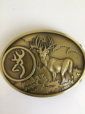 Belt Buckle - Deer Hunter - Brass