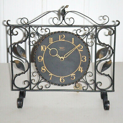 Antique/Vintage Floral Wrought Iron Smiths SECTRIC Mantel Clock for Restoration