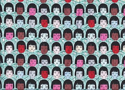 Fast Friends Cotton Fabric People Human Faces of All Races Black Bangs .5 Yard