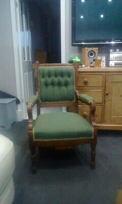 Antique Oak Reading / Library Chair In Green With Original Castors