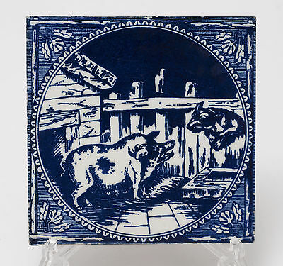 Antique Victorian Minton Blue & White Printed Tile - Wolf & Pig