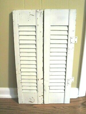 "One Pair of Wooden Louvered Window Shutter 24"" Tall x 14"" Wide (Across)"