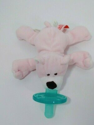 Pink Teddy Bear Wubbanub Plush Toy  Pacifier Mary Meyer white snout brown nose