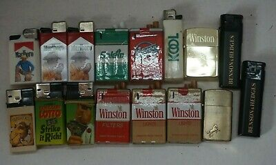 x16 Vintage Cigarette Lighter Lot - Marlboro, Camel, Winston, Kool, Salem