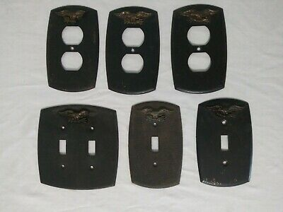 Vintage Federal Eagle Black Metal Light Switch Plate Covers and Outlet Covers