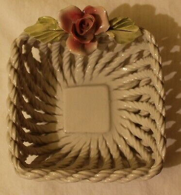 "Vintage 4 1/4"" Italy Capodimonte Basket Weave Pink Rose Italian"