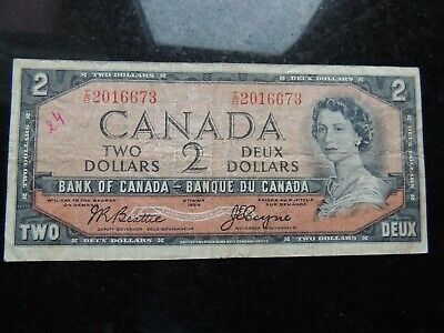 1954 Bank Canada $2 Two Dollars Beattie Coyne I/B 2016673 Devils Face Changeover