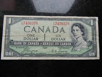 1954 BANK CANADA $1 ONE DOLLAR F/A 7456378 COYNE TOWERS DEVILS FACE BC-29a