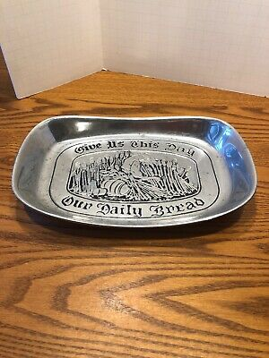 WILTON Pewter Armetale Give Us This Day Our Daily Bread Tray Dish Plate Used