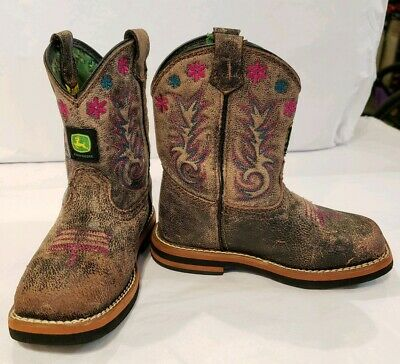 d23574ffd0b OLD WEST PINK & Brown Leather Square Toe Cowboy Boots Toddler Girls ...