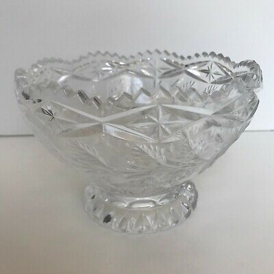 Crystal Pedestal Bowl Vtg Hand Cut, Clear w/ Frosted Flowers, Engraved