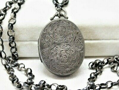 Large 36g VICTORIAN Antique carved STERLING Silver ROLO Chain 2 photo LOCKET 28""