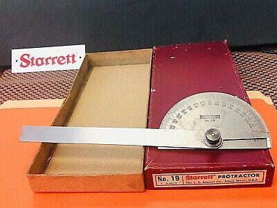 """Vintage Starrett No.19  Steel Protractor with a 6 Inch Long Blade. """"Made in USA"""""""