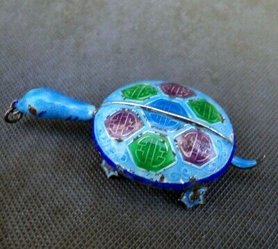 Art Deco Chinese Sterling Silver Enamel Articulated Turtle Pendant 2.5 inches