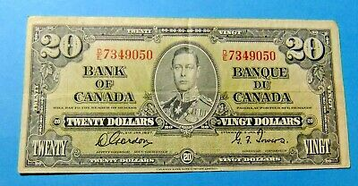 1937 Bank of Canada 20 Dollar Note - GORDON/TOWERS - VF25