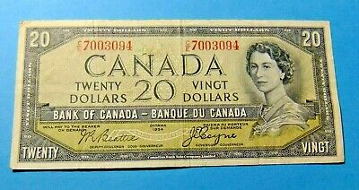 1954 Bank of Canada 20 Dollar Note - DEVILS FACE - VF25  PLUS