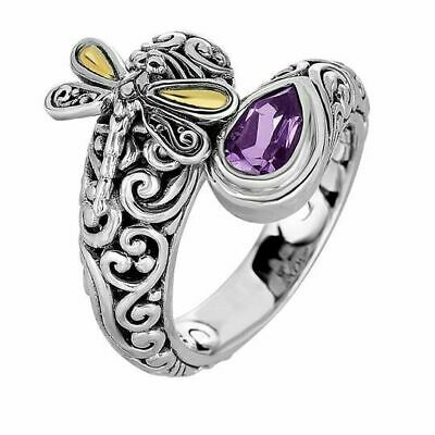 Antique Women's 925 Silver Amethyst Dragonfly Wedding Ring Band Jewelry Size6-10