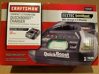 Craftsman lithium-ion QUICKBOOST battery CHARGER Nextec 12 volt 12V NEW! 29497