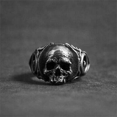 Simple Mens Gothic Biker Skull Ring Women Rock 316L Stainless Steel Ring Jewelry