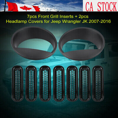 Clip-in Front Insert Mesh Cover Grille Trim for 07-16 Jeep Wrangler JK 7PCS