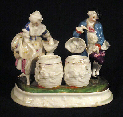 1800s Antique Porcelain INK STAND INKWELL SANDER Man & Woman Germany Inkstand