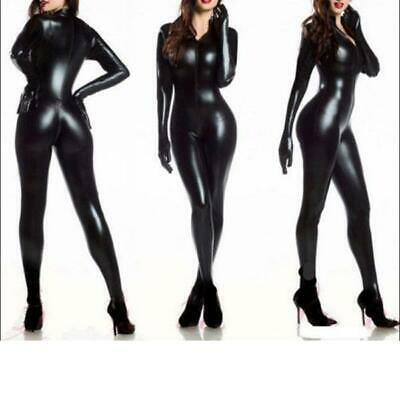 Sexy Gothic Bodysuit Wet Look Catsuit Bondage Goth Fetish Gloves jumpsuit SH99