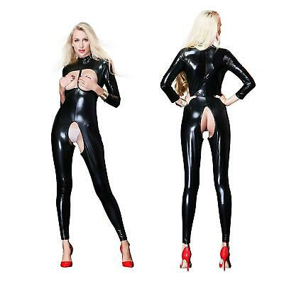 Sexy Gothic Bodysuit Open Bust Crotch Wet Look Catsuit Bondage Goth Fetish SH149