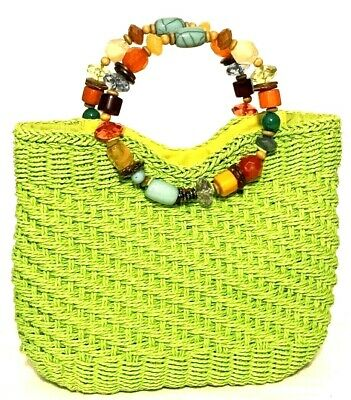 781c015fae CAPPELLI STRAWORLD lime green paper straw beaded handles bucket bag purse  tote
