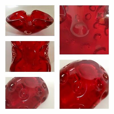 Vintage Glass Ashtray Dish Red Two Fold Art Controlled Olive Indentations