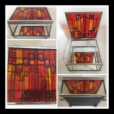 JEWELERY BOX Art DECO STYLE Stained Glass Mirrored Trinket Red Orange Beautiful