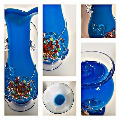 VINTAGE MURANO GLASS APPLIED FLOWER HAND BLOWN WHITE LINED VASE BLUE 1960's