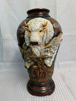 "Bradford Exchange Native American Ancient Spirits Vase Wolves Buffulo 15"" Tall"