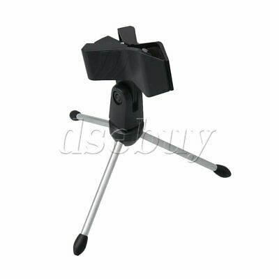 Mini Foldable Desktop Microphone Stand Tripod with MC4 Mic Clip Holder
