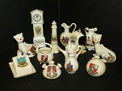 JOB LOT CRESTED CHINA CHESHIRE CAT x 2, LUCKY WHITE HEATHER x 2, ARCADIAN WILLOW