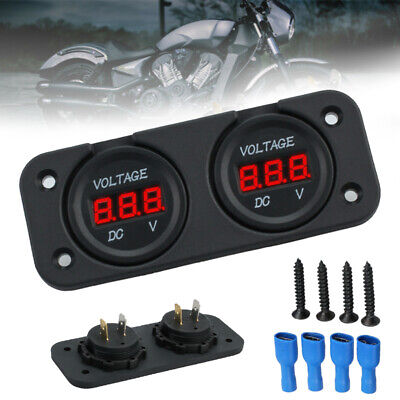DC 12V/24V Dual LED Digital Volt Meter Panel Car Boat Marine Battery Monitor