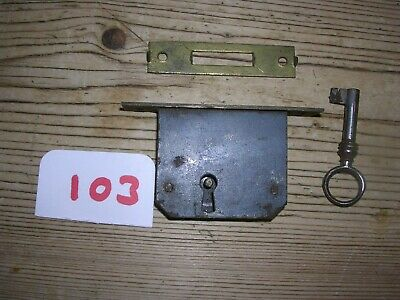 Antique Brass Roll Top / Tamber Front Cabinet Lock With Key And Keep (103)