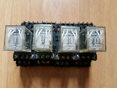 4 x Omron Relay MY4IN 24Vac coil 5A  &  Din Rail Socket.PYF14A-E